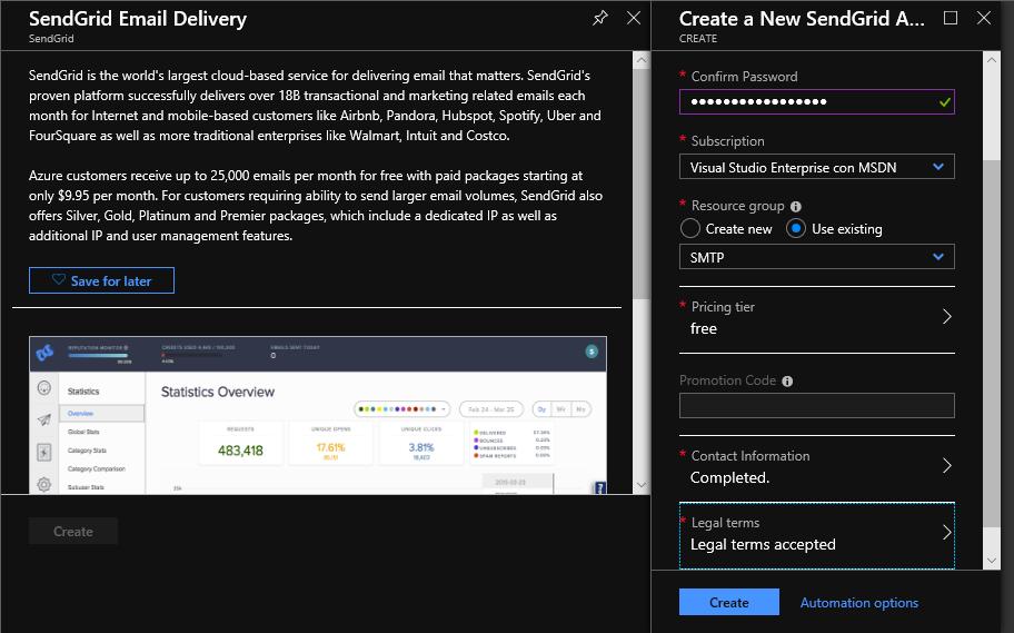 Crear el servicio de SendGrid en Azure